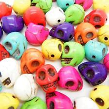 25 x turquoise crâne tête de gros perles 13mm x 12mm taille de trou 1mm couleur mixte