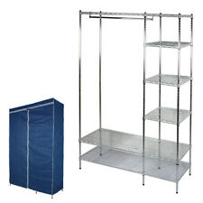 TITUS - Metal Frame Double Wardrobe with Cover - Blue / Silver YRWA137
