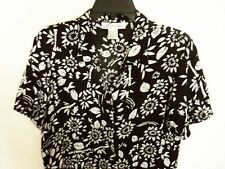 WOMENS Large Dress Barn TEXTURED black and white FLORAL button front BLOUSE Top