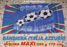 BANDIERA ITALIA FORZA RAGAZZI AZZURRI NAZIONALE CALCIO 280x170cm MAXI