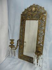ANTIQUE GOTHIC STYLE GILT BRONZE MIRROR w/CHERUBS, FACES & CANDELABRA w/CRYSTALS