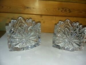 "Beautiful Crystal  Clear Votive Candle Holders-3.25"" H /Set of 2 Triangle shape"