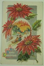 Vintage Christmas postcard with embossed poinsettias and children on sled