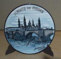 """Plato decorativo, Cerámica """"Puente de Piedra"""" Zaragoza, Ceramar, a mano"""