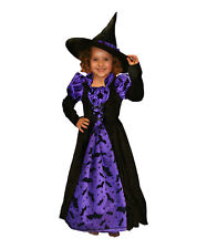 Girls Witch Costume Purple Halloween Princess Paradise Dress Hat Size 9 10 New