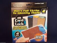 IDENTITY THEFT CREDIT CARD LOCK SLEEVES/HOLDER LEATHER LOOK FOR WALLETS/PURSE