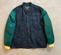 Men's Levi's NFL Green Bay Packers Black Denim Varsity Trucker Jacket Sz 2XL