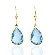 14k Yellow Gold PEAR Shaped Blue Topaz Earrings