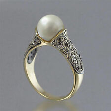 Fashion Wedding Ring for Women 18k Yellow Gold Plated White Pearl Ring Size 5-12