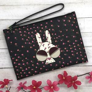 NEW Kate Spade Spademals Money Bunny Small Wristlet Purse Black Floral pwru7507