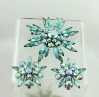 Judy Lee Sparkling Blue AB Flower Star Snowflake Spiked Brooch Pin & Earring Set