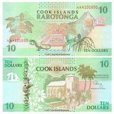 Cook Islands 10 Dollars 1992 P-8 First Prefix AAA Banknotes UNC