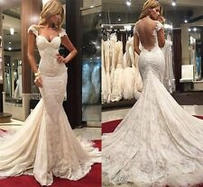 Mermaid Wedding Dress Tight Open Back Applique Bridal Gown Custom Size Plus 2-28