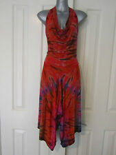 NEW Halter Dress Pink Tie Dye Dyed Pixie Cowl Neck Luxuriously Soft Stretch OS