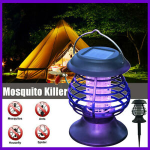Solar UV LED Mosquito Fly Bug Insect Zapper Killer Trap Lamp Outdoor Garden Yard