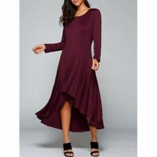 High Low Long Sleeve Maxi Prom Dress - Wine Red