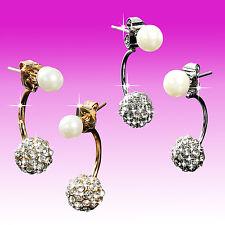 Ohrringe Strasssteine Zirkonia Doppelt Doppel Ohrstecker Perle Kugel Gold Silber