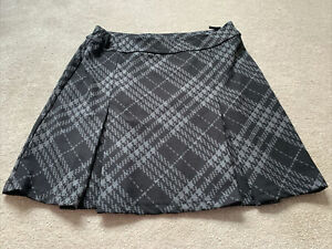 M&S Ladies Grey And Black Houndstooth Elasticated Skater Skirt UK Size 12