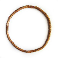 Natural Wooden Bead Surf Necklace Tribal Mens Womens Beach on Elastic Cord Brown