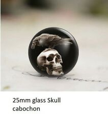 2 x 25mm glass Skull cabochon Gothic , Bird , crow, dome, flat back