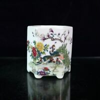 "3.8"" Chinese Porcelain Famille Rose Flowers and Plants Peacock Hexagon Brush Pot"
