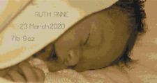 Sleeping Baby Birth Sampler Cross Stitch Kit by Florashell