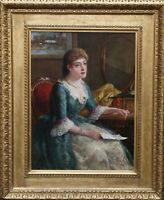 GEORGE WELLS BRITISH VICTORIAN 19thC ART OIL PORTRAIT PAINTING CHLORINDA READING