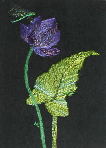 """ACEO Original """"Lotus and Dragonfly"""" Silk Hand Embroidery - A Lobban"""