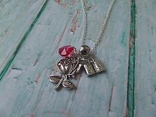 Once Upon a Time themed Belle beauty cup silver charm necklace princess party
