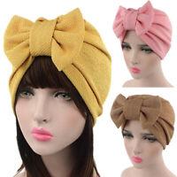 Fashion Women Bow Bonnet Chemo Hijab Turban Cap Sleep Beanie Hat Head Scarf Wrap