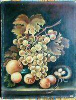 Tableau ,nature morte aux raisins et grenades, huile sur toile et daté 1897