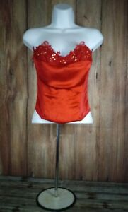 Vtg Corset Top Shirley Of Hollywood Satin Size 32, Red, Lace w/Sequins. C-2
