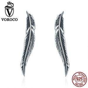 Voroco Retro Wing 925 Sterling Silver Hook Earrings Climber Cuff Women Jewelry