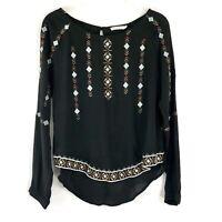 Lush Womens Top Black Sheer Aztec Embroidered Boho Shirt Blouse Hi Lo Medium