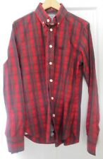 MEN'S SUPERDRY BUTTON DOWN COLLAR RED & BLACK CHECKED LONG SLEEVE SHIRT LARGE