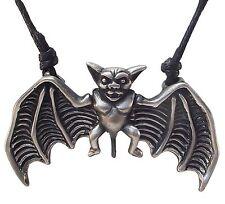 Peltre Murciélago Vampiro Colgante con Ajustable Negro Collar de Cordón