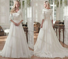 New Modest White Ivory Wedding Dress Pleats Lace Bridal Gown Size 6 8 10 12 14