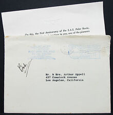 SAS First Flight over the Pole to Europe Stamp US Airmail Cover Brief (L-2773