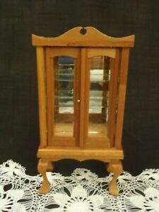 Vintage FOMERZ Miniature Dollhouse Handcrafted Hardwood Glass  Curio Cabinet