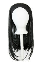 25'' Straight Braided Wig with Headband Natural Black Cosplay Wig NEW