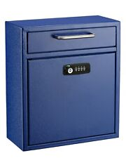 AdirOffice Blue 12 x 10 in Drop Box Wall Mounted Mail Box W/Key and Combination