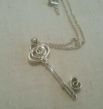 CUTE LOVELY SILVER KEY NECKLACE CLEAR STONE BIRTHDAY ANNIVERSARY GIFT