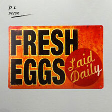 DL-TIN SIGN Fresh Eggs LD Metal Decor Art Chicken Coop Kitchen Cottage Farm
