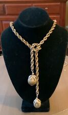 Cool Vintage Costume Gold-Toned Lariat Chain Necklace 60's Excellent Condition