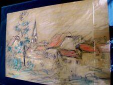 """SOURDILLON-Berthe- """"L'EGLISE DU VILLAGE"""" (06) CRAYON GRAS EXPRESSIONNISTE- BS8"""