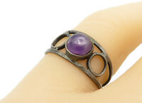925 Sterling Silver - Vintage Cabochon Cut Amethyst Open Band Ring Sz 7 - R13526