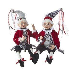 "Raz Imports Christmas Time in the Village Elf Posable 16"" Elves Christmas Dolls"