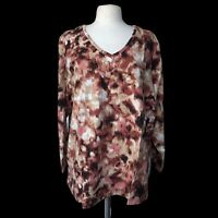 DENIM & Co. Women's Plus Size 3X Brown Perfect Jersey Long Sleeve V-neck Top