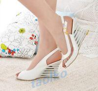 Women's Ladies Wedge High Heel Open Toe Sandal Slingbacks Party Buckle Shoes