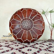 Pouf Moroccan Ottoman Leather Footstool Handmade Floor Genuine Brown Hassock Use